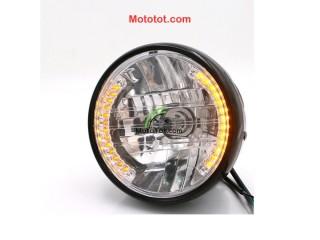 Đèn pha kiểu CD125 bóng led vòng cho mô tô cafe tracker bobber chopper