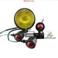 Bộ đèn pha - xi nhan - lái moto cafe racer tracker bobber
